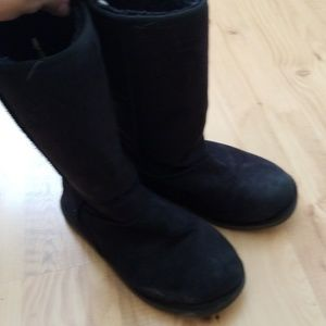 Black suede fuzzy boots